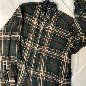 Nautica Men's Green Plaid Button Down Shirt
